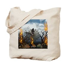Fantasy Of Bat and Fire Tote Bag