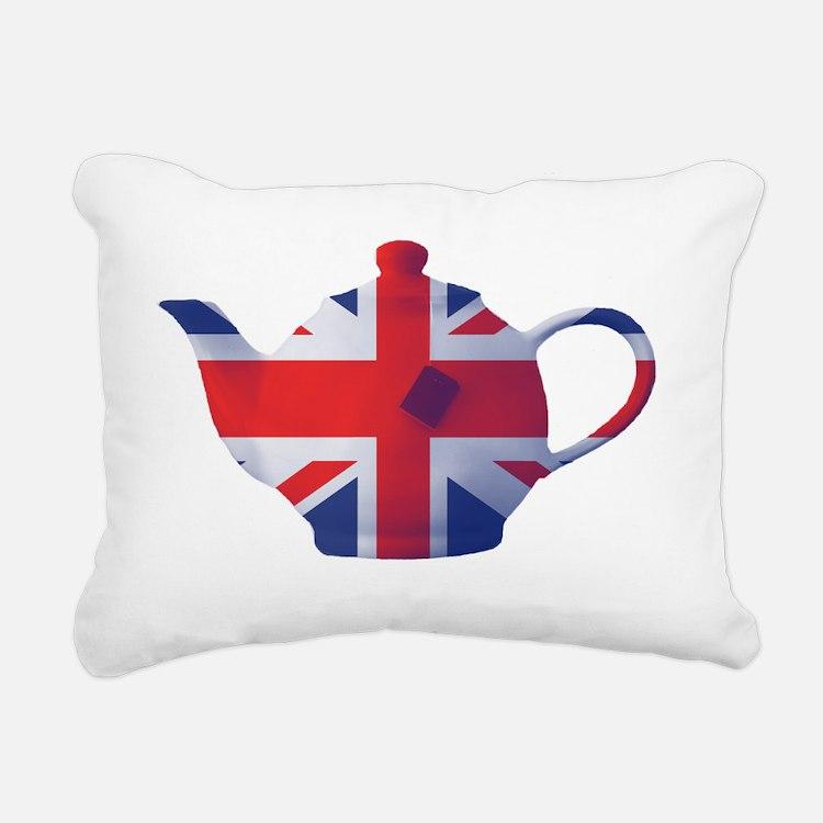 Union Jack Flag Teapot A Rectangular Canvas Pillow