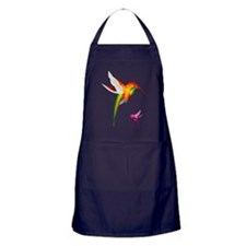 Colorful Hummingbirds Apron (dark)