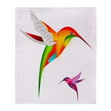 Colorful Hummingbirds Throw Blanket
