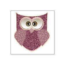 """Cute Pink Owl Art Square Sticker 3"""" x 3"""""""