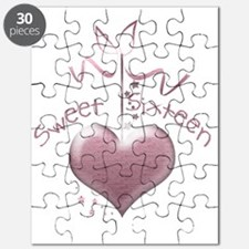 Sweet Sixteen Pink Heart Puzzle