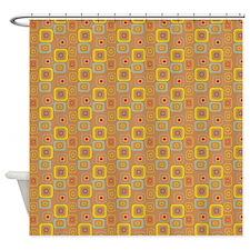 Retro Caramel Squares Shower Curtain