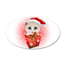 Kitten Christmas Santa with Big Red Gift Wall Deca