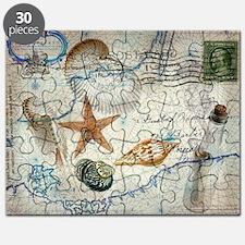 vintage girly seashells nautical anchor sta Puzzle