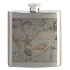 vintage girly seashells nautical anchor stam Flask