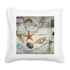 vintage girly seashells nauti Square Canvas Pillow