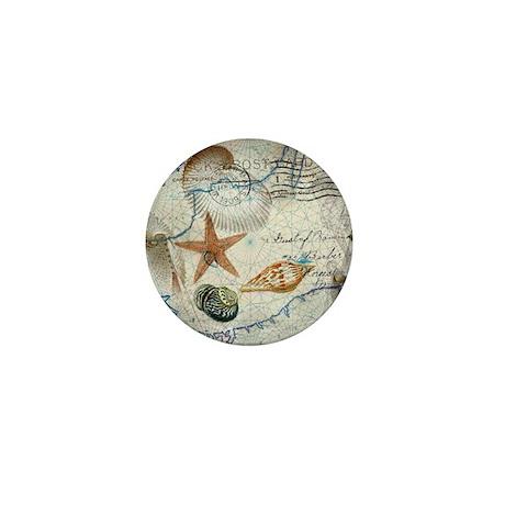 vintage girly seashells nautical ancho Mini Button