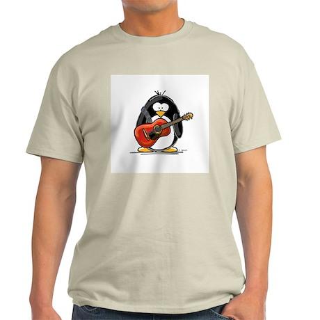 Red Acoustic Guitar Penguin Ash Grey T-Shirt