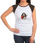 Red Acoustic Guitar Penguin Women's Cap Sleeve T-S