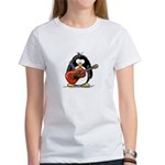 Red Acoustic Guitar Penguin Women's T-Shirt