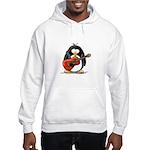Red Acoustic Guitar Penguin Hooded Sweatshirt
