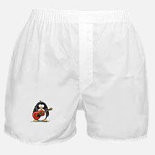 Red Acoustic Guitar Penguin Boxer Shorts