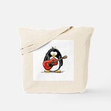 Red Acoustic Guitar Penguin Tote Bag