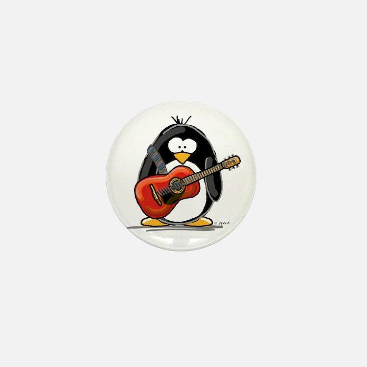 Red Acoustic Guitar Penguin Mini Button