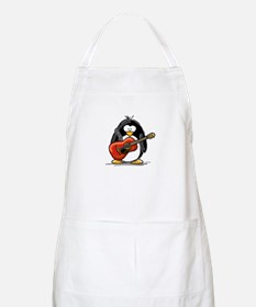 Red Acoustic Guitar Penguin BBQ Apron