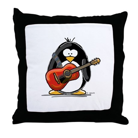 Red Acoustic Guitar Penguin Throw Pillow