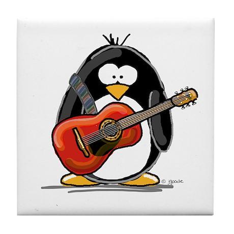 Red Acoustic Guitar Penguin Tile Coaster