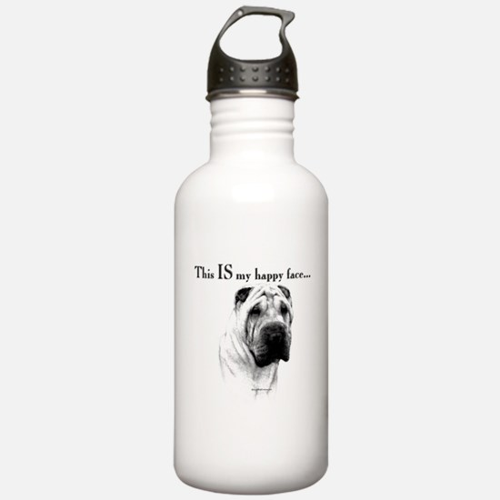 Chinese Sharpei Happy Face Water Bottle