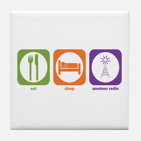 Eat Sleep Radio Tile Coaster