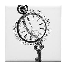 Clock and Key Motivational Tile Coaster