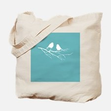 Two Little white Sparrow Birds Blue Shade Tote Bag