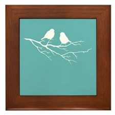 Two Little white Sparrow Birds Blue Shade Framed T