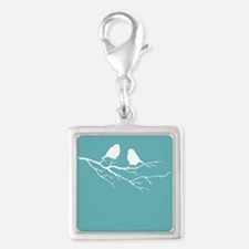Two Little white Sparrow Birds Blue Shade Charms
