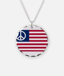 Patriotic American Flag Red White and Peace Neckla