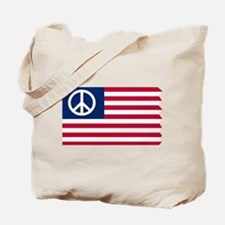 Patriotic American Flag Red White and Peace Tote B