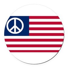 Patriotic American Flag Red White and Peace Round
