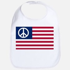 Patriotic American Flag Red White and Peace Bib
