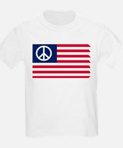 Patriotic American Flag Red White and Peace T-Shirt