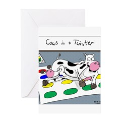 Cows in a Twister Greeting Card