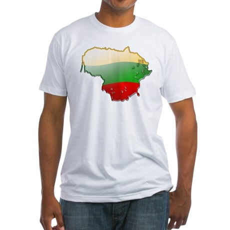 """""""Lithuania Bubble Map"""" Fitted T-Shirt"""