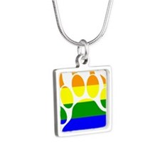 GAY Bear Rainbow Paw Silver Square Necklace