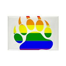 GAY Bear Rainbow Paw Rectangle Magnet