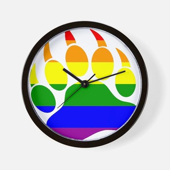 GAY Bear Rainbow Paw Wall Clock