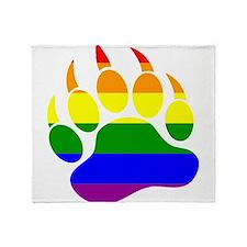 GAY Bear Rainbow Paw Throw Blanket