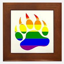 GAY Bear Rainbow Paw Framed Tile