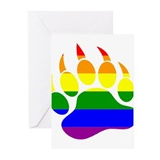 GAY Bear Rainbow Paw Greeting Cards (Pk of 10)