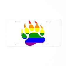 GAY Bear Rainbow Paw Aluminum License Plate