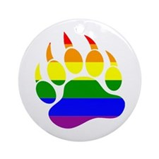 GAY Bear Rainbow Paw Ornament (Round)