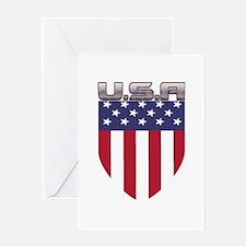 Patriotic American Flag Shield Greeting Cards