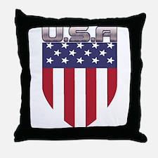 Patriotic American Flag Shield Throw Pillow
