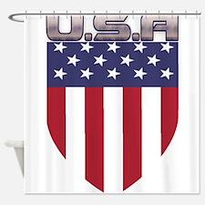 Patriotic American Flag Shield Shower Curtain