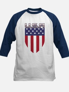 Patriotic American Flag Shield Baseball Jersey
