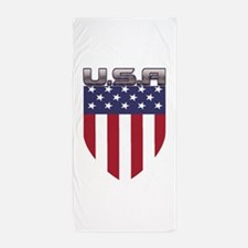Patriotic American Flag Shield Beach Towel