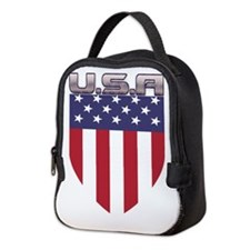 Patriotic American Flag Shield Neoprene Lunch Bag