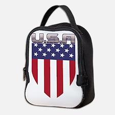 Patriotic American Flag Shield Neoprene Lunch Bag